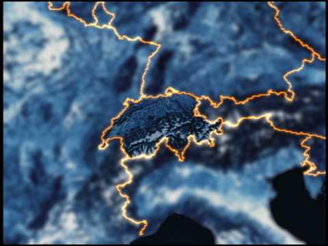 vídeos de stock e filmes b-roll de view from space, towards europe - switzerland