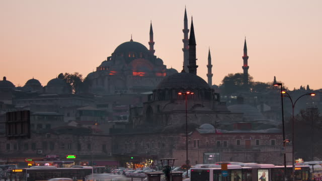 tl towards suleymaniye mosque day to night - suleymaniye mosque stock videos and b-roll footage