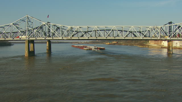 Towboat Pushes Barges On Mississippi River