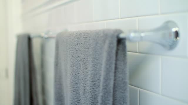 Towels on towel rail