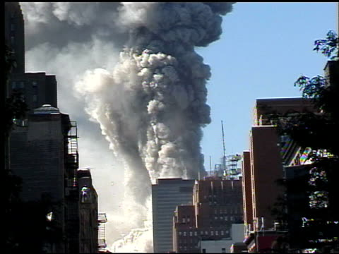"vídeos y material grabado en eventos de stock de tower 1 before its collapse / cloud of smoke covers tower / people shout ""no"" ""oh my god!"" / some in crowd take photographs / downtown with huge... - 2001"