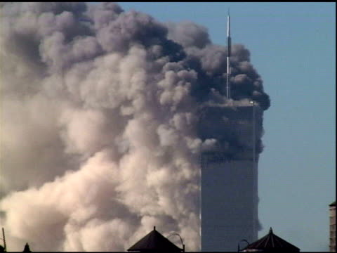 tower 1 burns w/ smoke following collapse of tower 2 zo huge clouds of smoke building water supply towers in fg - september 11 2001 attacks stock videos & royalty-free footage