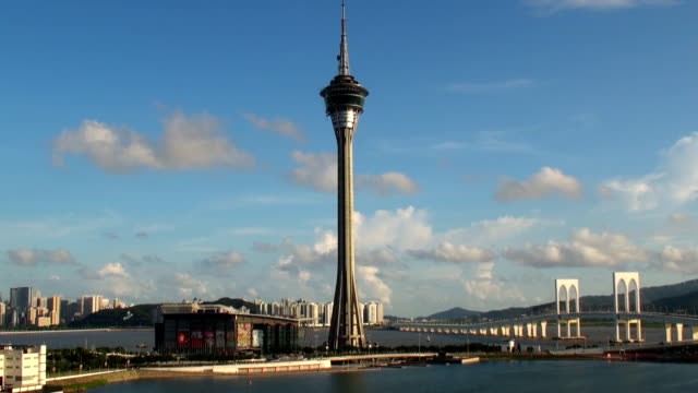 tower and bridge - macau, sar - macao stock videos & royalty-free footage
