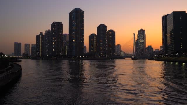 Tower apartment at dusk ,Sumida River,Tokyo