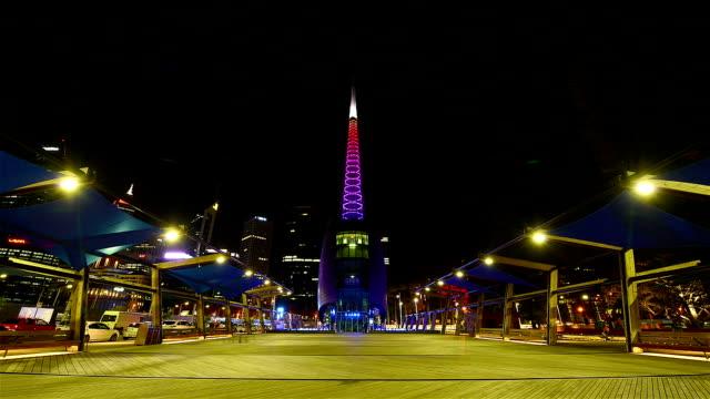 tower bell at elizabeth quay, perth, western australia/ australia - tower stock videos & royalty-free footage