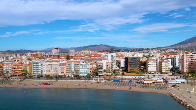 tower block accommodation & beach, fuengirola, andalusia, spain - spain stock videos & royalty-free footage