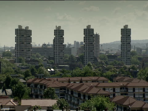 tower blocks stand tall in residential district london - block shape stock videos & royalty-free footage