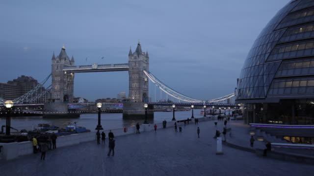 Tower Bridge and City Hall at Dusk, Southwark, London, England, UK