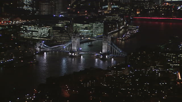 AERIAL Tower Bridge and City Reveal at Night