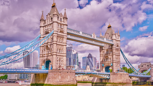 tower bridge and financial district, london, uk - london bridge england stock videos & royalty-free footage