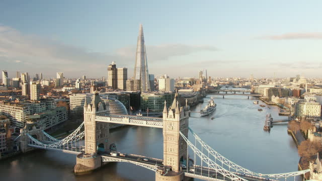 tower bridge and river thames, london, uk - greater london stock videos & royalty-free footage