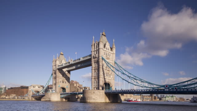 Tower Bridge and the River Thames in London, England.