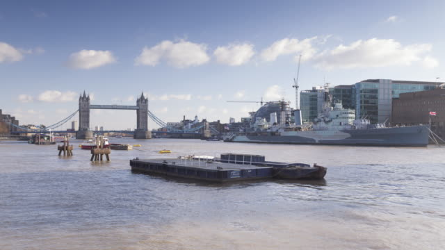 tower bridge and the river thames in london, england. - bascule bridge stock videos and b-roll footage