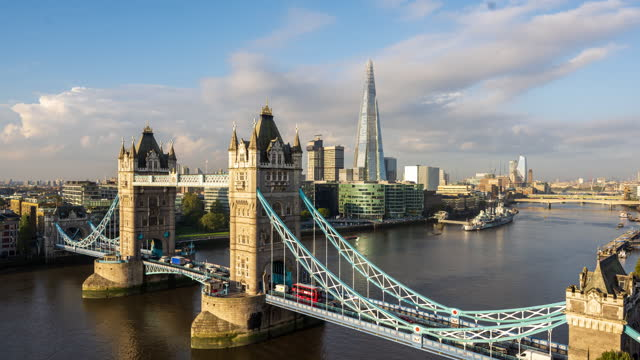 tower bridge and the shard, london, england, united kingdom - river thames stock videos & royalty-free footage