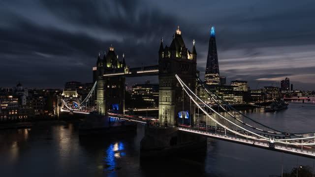 tower bridge and the shard, london, england, united kingdom - tower bridge stock videos & royalty-free footage