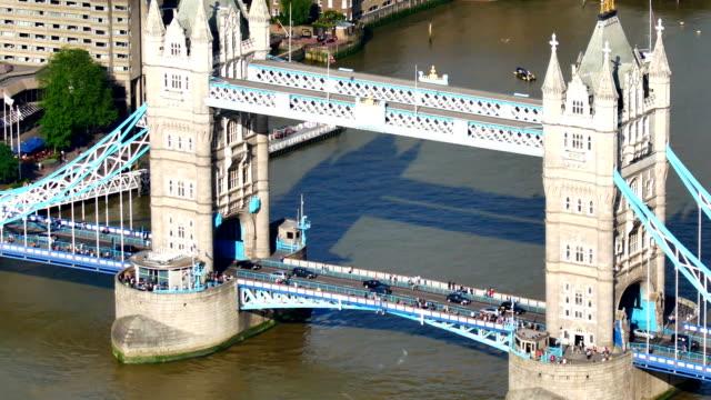 tower bridge and traffic in london, england - tower bridge stock videos & royalty-free footage