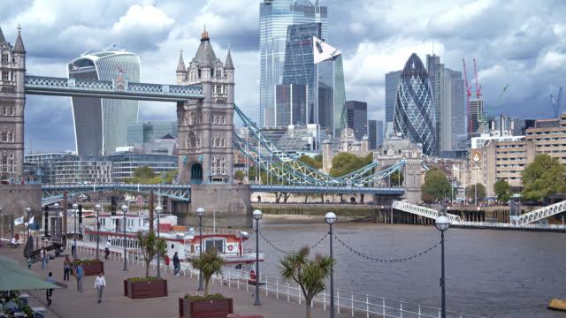 tower bridge. financial district. london. fairy tale like setting. - tower bridge stock videos & royalty-free footage