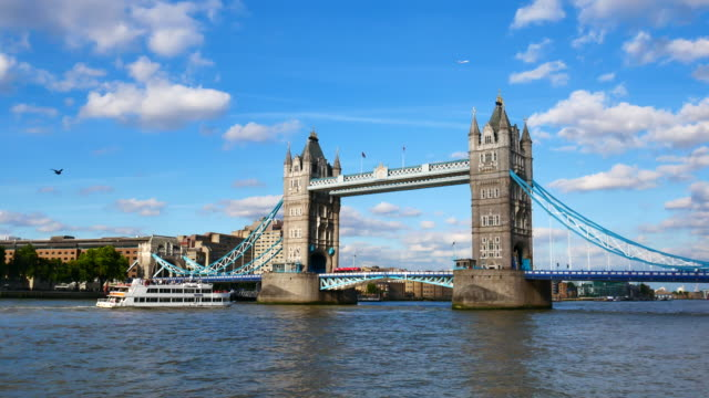 tower bridge, london, england in summer - tower bridge stock videos & royalty-free footage