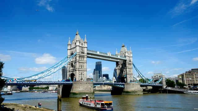 tower bridge, london, england in summer with time-lapse - london bridge england stock videos & royalty-free footage