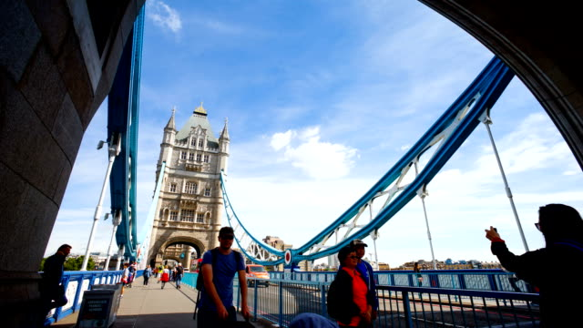Tower Bridge, London, England in summer with time-lapse