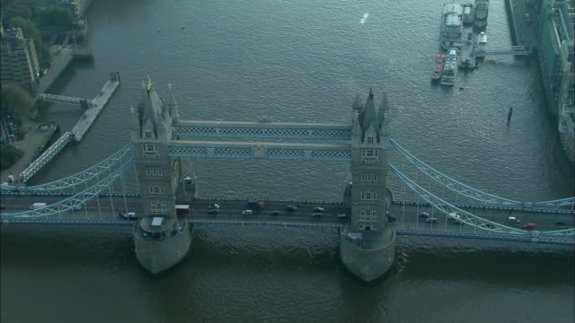 low aerial, tower bridge, london, england - 19th century style stock videos & royalty-free footage