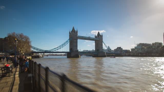 tower bridge london hyperlapse - tower bridge stock videos & royalty-free footage