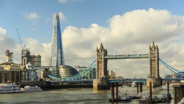 ws t/l tower bridge on river thames with shard london and city hall / london, united kingdom - gla building stock videos & royalty-free footage