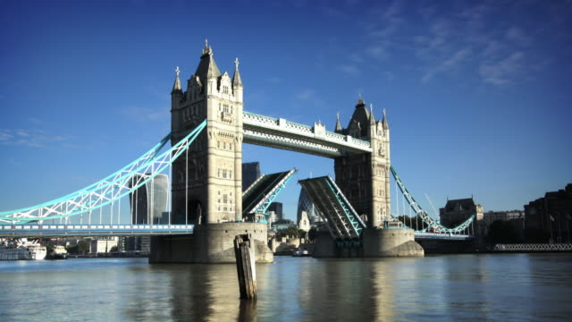 tower bridge opening, london - london bridge england stock videos & royalty-free footage
