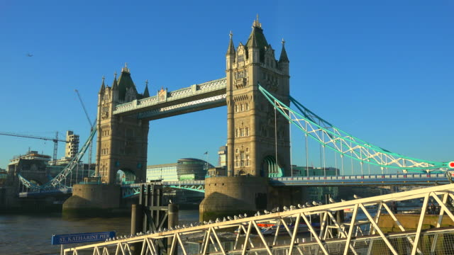 tower bridge over thames river, london, england, great britain, united kingdom - gla building stock videos & royalty-free footage