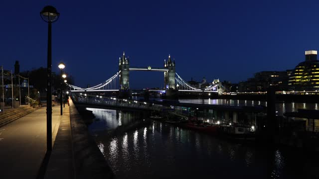 tower bridge & skyline viewed from tower pier on february 10, 2021 in london, england. - tower bridge stock videos & royalty-free footage