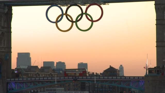 tower bridge, sunrise olympic london general views on july 21, 2012 in london, england - 2012 stock videos & royalty-free footage