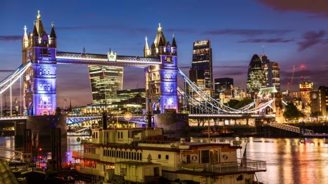 Tower Bridge with London Skyline by night