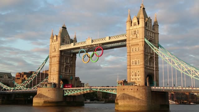 tower bridge with olympic rings on october 01 2012 in london england - olympic rings stock videos & royalty-free footage