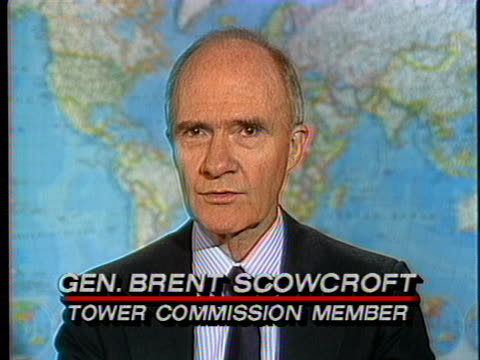 tower commission member brent scowcroft discusses the iran-contra hearings. - reggere video stock e b–roll