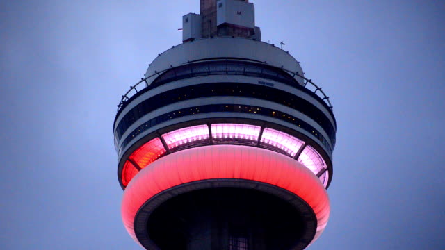 CN Tower during Canada's Day Holiday showing red and white colors