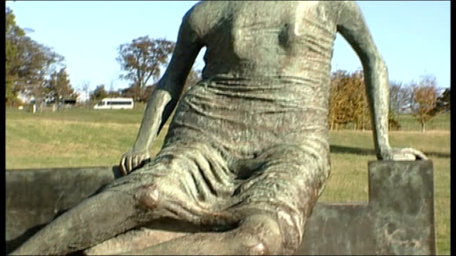 """tower hamlets council debating whether to sell henry moore sculpture; wakefield: yorkshire sculpture park: ext gvs of henry moore sculpture """"draped... - henry moore stock videos & royalty-free footage"""