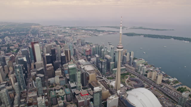 aerial cn tower in toronto, ontario, canada - toronto stock videos & royalty-free footage