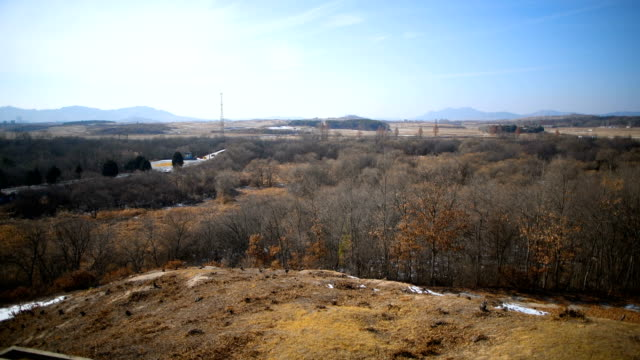 a tower is pictured in a propaganda village in north korea near the demilitarized zone between south and north korea on february 7 2018 in panmunjom... - winter olympic games stock videos and b-roll footage