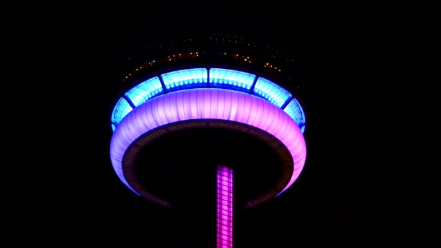 CN Tower lit with the rainbow color celebrating the start of the Toronto Pride Week/ Pride Week is a tenday event held during the end of June each...