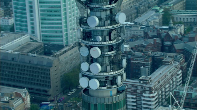 aerial, zo, bt tower, london, england - communications tower stock videos & royalty-free footage