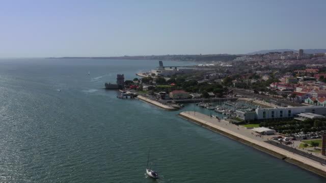 tower of belem (torre de belem) / lisbon, portugal - nautical vessel video stock e b–roll
