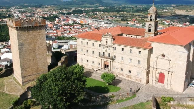 tower of homage and the benedictine monastery, monforte de lemos (spain) - galicia stock videos & royalty-free footage