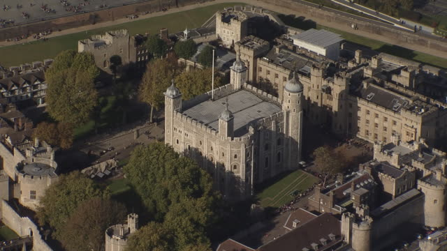 tower of london overview by helicopter - tower of london stock videos and b-roll footage