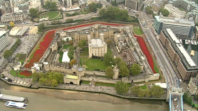 tower of london poppy installation creators receive mbe awards lib / tower of london with 'blood swept lands and seas of red' poppy installation in... - moat stock videos & royalty-free footage