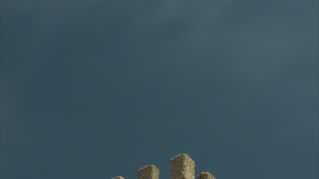TD, CU, Tower of medieval castle, Banos De La Encina, Cordoba, Spain