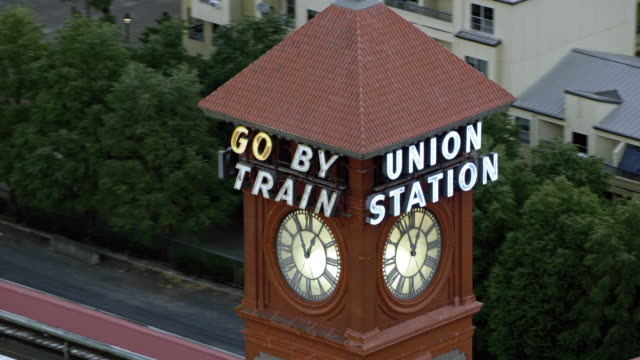 aerial tower of the portland union station - portland oregon stock videos & royalty-free footage