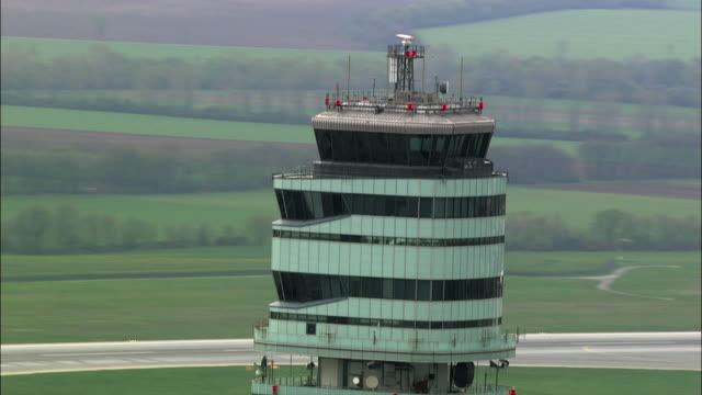 stockvideo's en b-roll-footage met aerial tower of vienna international airport / schwechat, lower austria, austria - lower austria