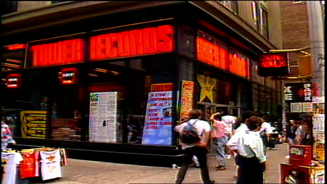 tower records exterior in nyc in 1988 - tower records stock videos & royalty-free footage