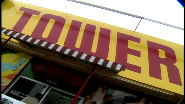 cu tower records sign in los angeles california - tower records stock videos & royalty-free footage