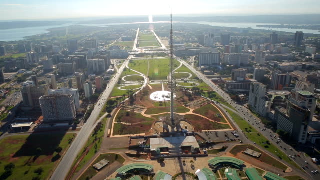tv tower square aerial images , brasilia , brazil, capital of the brazil, town square, angle two. - brasilia stock videos and b-roll footage